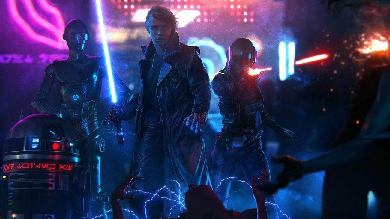 ADarkJediandaRenegadePrincess ArtbyJeronimoGomez.jpgADarkJediandaRenegadePrincess ArtbyJeronimoGomez - Cyberpunk Star Wars - A Dark Jedi and a Renegade Princess