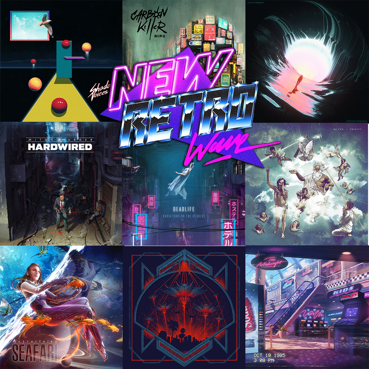 Top 10 Music Art - Top Ten Retrowave Album Covers of 2018