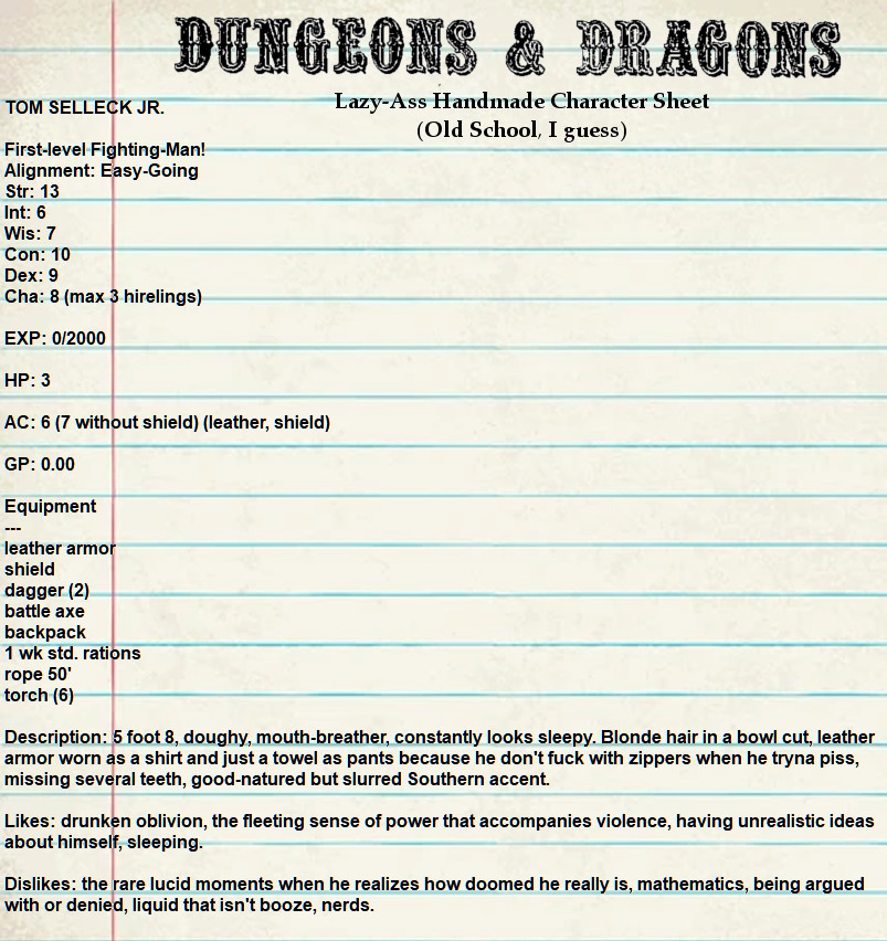 sheet - Tabletop Tower: Original Dungeons & Dragons (Tactical Studies Rules, 1974) Part 1